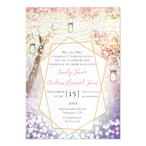 Pastel Pink Purple Blue Green Fairy Tale Wedding Magnetic Invitation