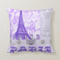 Pastel Purple Paris Throw Pillow