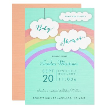 Pastel Rainbow Clouds Gender Neutral Baby Shower Card