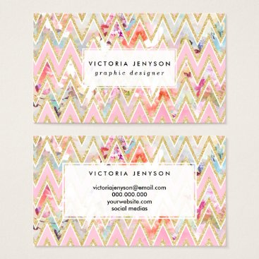 Pastel watercolor floral pink gold chevron pattern business card