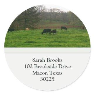 Pasture Address Label Round Sticker