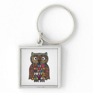 Patchwork Owl keychain