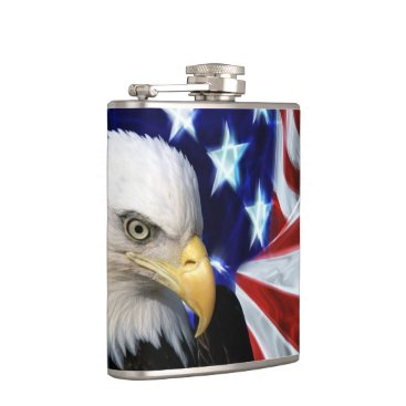 Patriotic Bald Eagle with American Flag Hip Flask