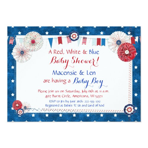 Patriotic Star Baby Shower Invitations - Country