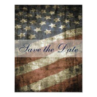 Patriotic US Flag Vintage Wedding Save the Date 4.25