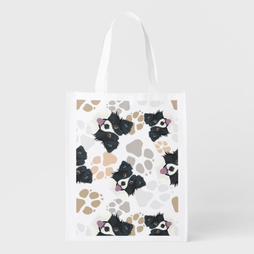 Pattern Dog Paws Border Collie Grocery Bag