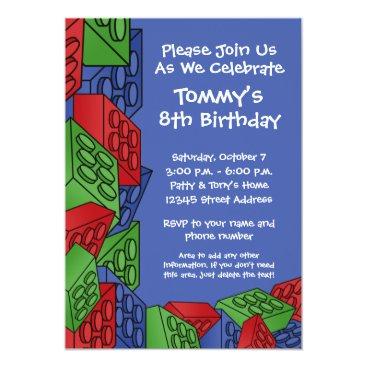 Pattern - Kids Building Blocks Birthday Party Invitation