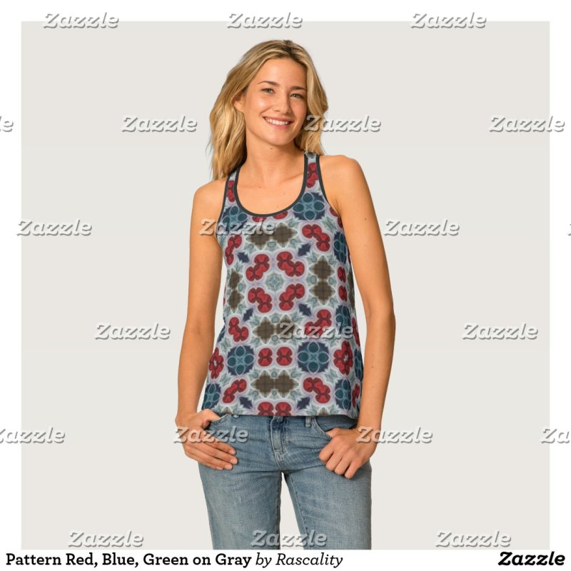 Pattern Red, Blue, Green on Gray Tank Top