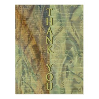 Patterned Fabric Thank You Postcard