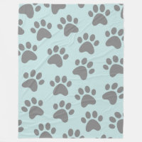 Paw Print Design Gray on Lt Blue Fleece Blanket