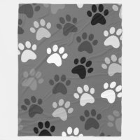 Paw Print Design Monochrome Fleece Blanket