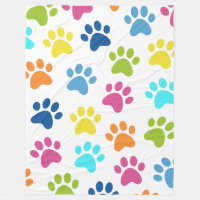Paw Print Design Multicolored Fleece Blanket