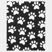 Paw Print Design White on Black Fleece Blanket