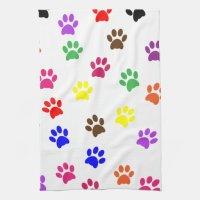 Paw print dog pet colorful fun kitchen tea towel | Zazzle