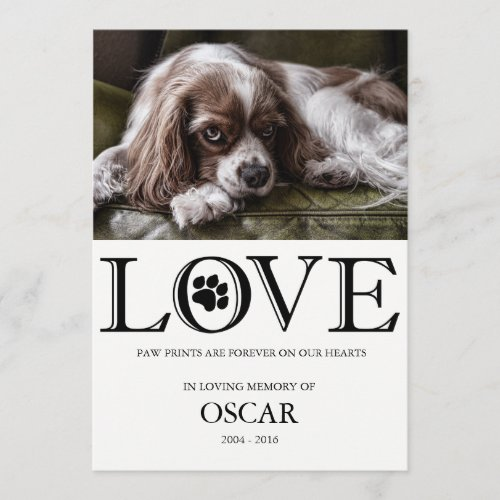 Paw Prints Love Pet Memorial Card
