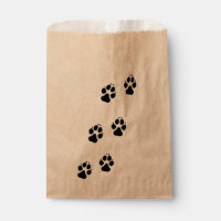 Paw prints of a dog favor bag