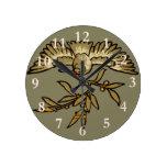 Peace Dove Olive Branch Round Clock