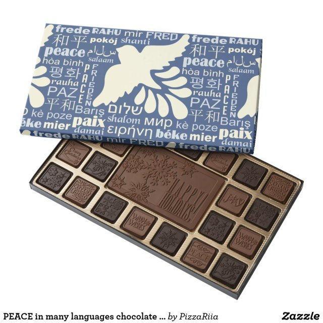 PEACE in many languages chocolate boxes