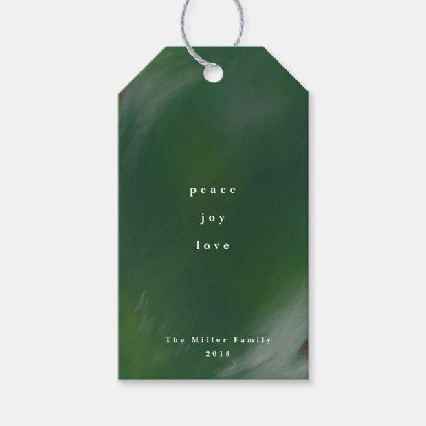 Peace, Joy, and Love Green Christmas Gift Tags