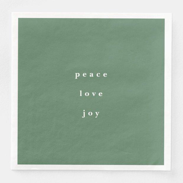 Peace, Love, and Joy Christmas Green Paper Dinner Napkin
