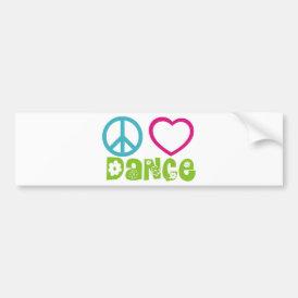 Peace Love Dance Bumper Sticker