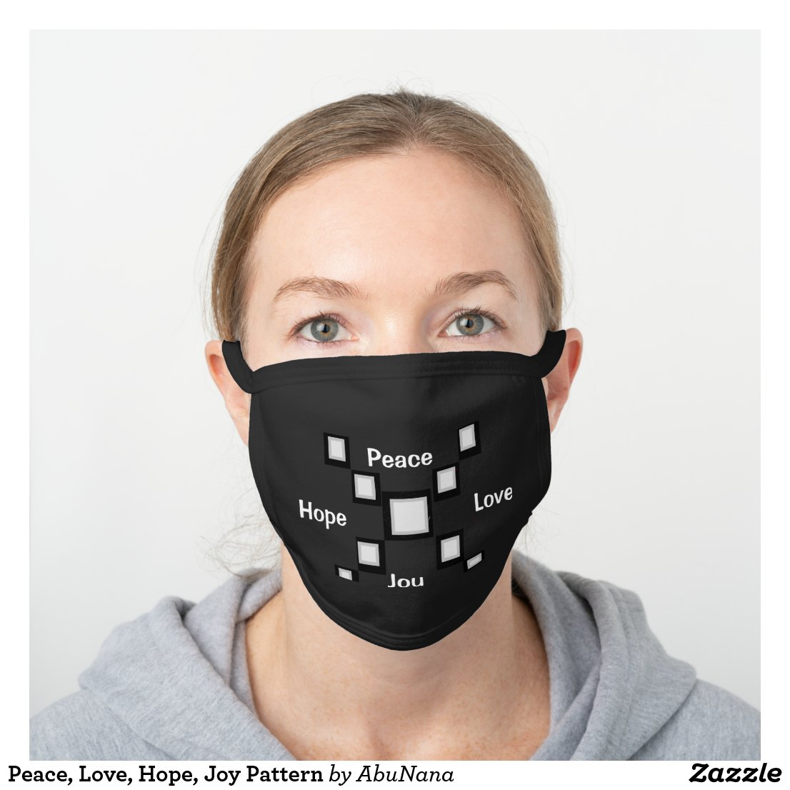 Peace, Love, Hope, Joy Pattern Black Cotton Face Mask