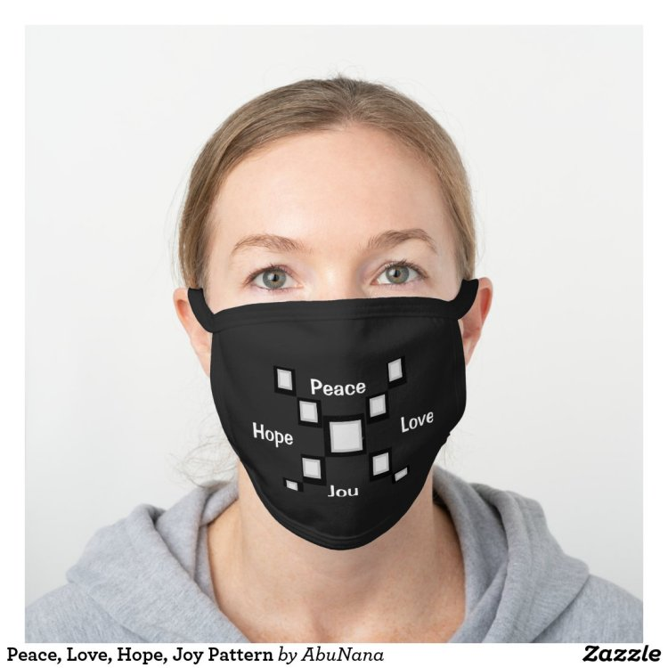 Peace, Love, Hope, Joy Pattern Black Cotton Face Mask