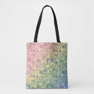 Peace Love Rainbow Design Tote Bag