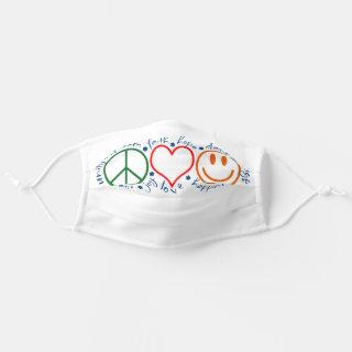 Peace Love Smile | White Cloth Face Mask