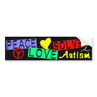 Peace Love Solve Autism bumpersticker