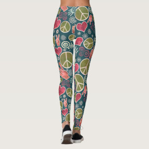 Peace Love Symbol Design Leggings