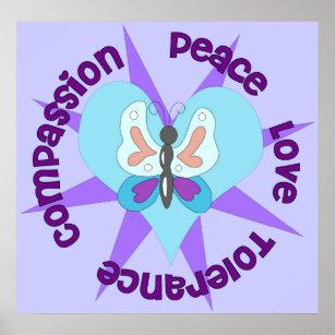 Peace love tolerance compassion poster also posters  photo prints zazzle rh