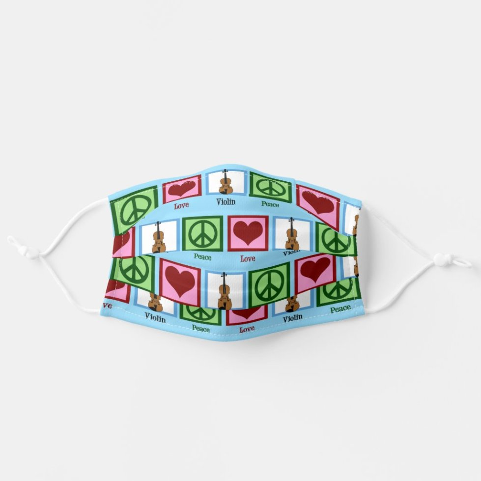 Peace Love Violin Adult Cloth Face Mask