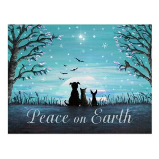 Peace on Earth Winter Sunset Postcard