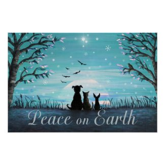 Peace on Earth Winter Sunset Poster