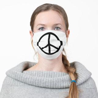 Peace Sign Symbol | BW Cloth Face Mask