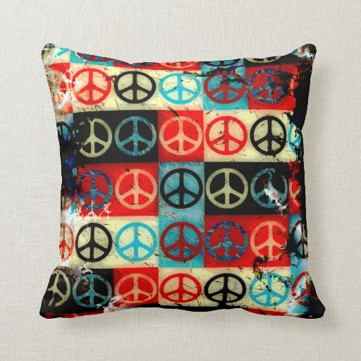 Peace Signs Throw Pillow  Zazzle