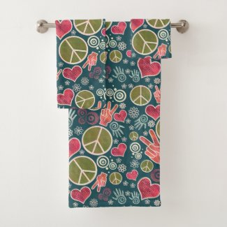 Peace Symbol Hipster Pacifism Sign Design Bath Towel Set