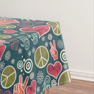 Peace Symbol Hipster Pacifism Sign Design Tablecloth