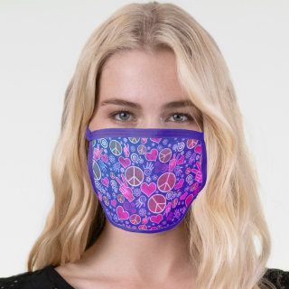 Peace Symbol Hipster Pacifism Sign Pink Stylish Face Mask