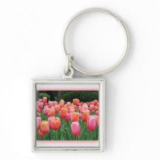 Peach and Pink Tulips Keychains