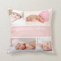 Peach Birth Announcement Throw Pillow | Zazzle