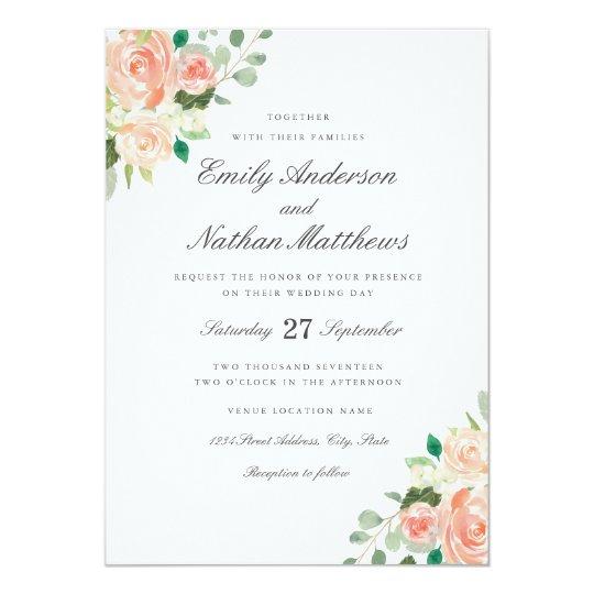 Peach Blush Watercolor Fl Wedding Invitation