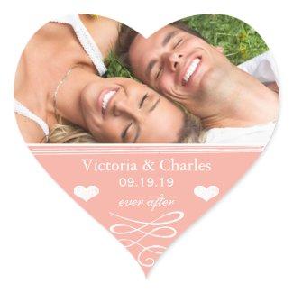 Peach Chalkboard Wedding Save the Date Seal