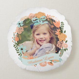 Peach Mint Girly Floral Wreath Photo Custom Round Pillow
