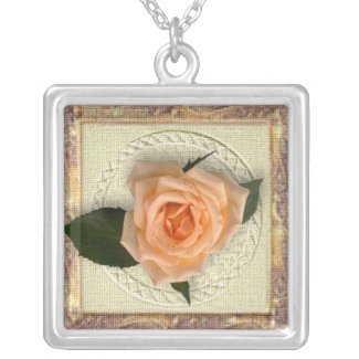 Peach Rose necklace