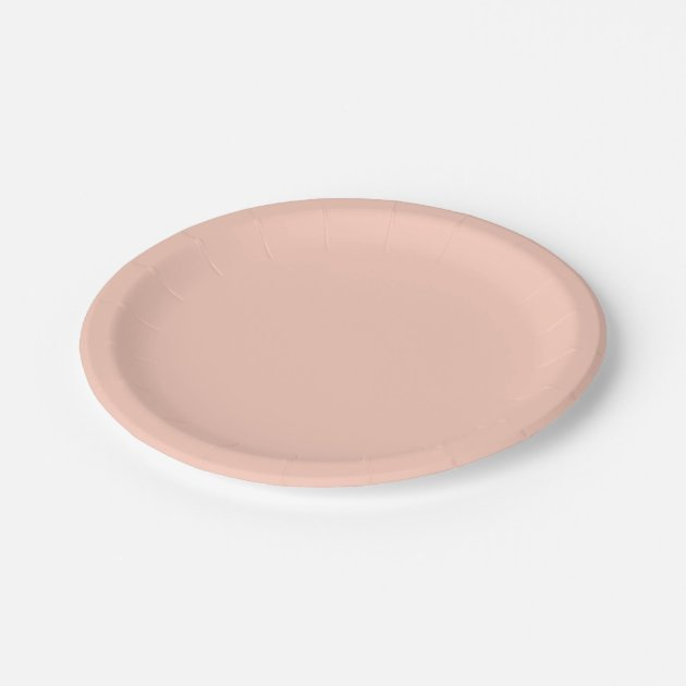 Peach Solid Color Paper Plate