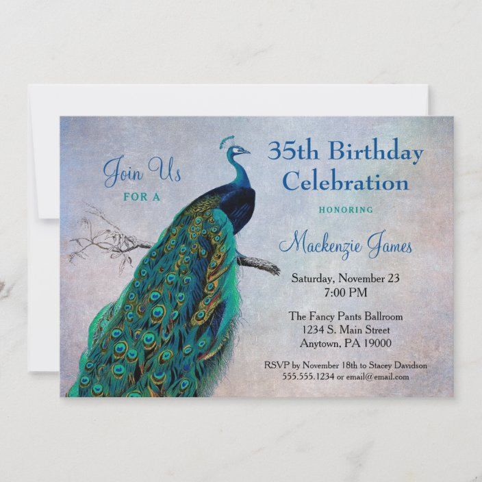 peacock birthday invitation vintage blue bird zazzle com