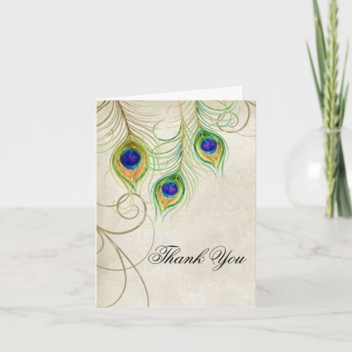 Peacock Feathers Wedding Thank You Note Stationery