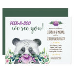 Peek-A-Boo PANDA BEAR Baby Gender Reveal Purple Invitation